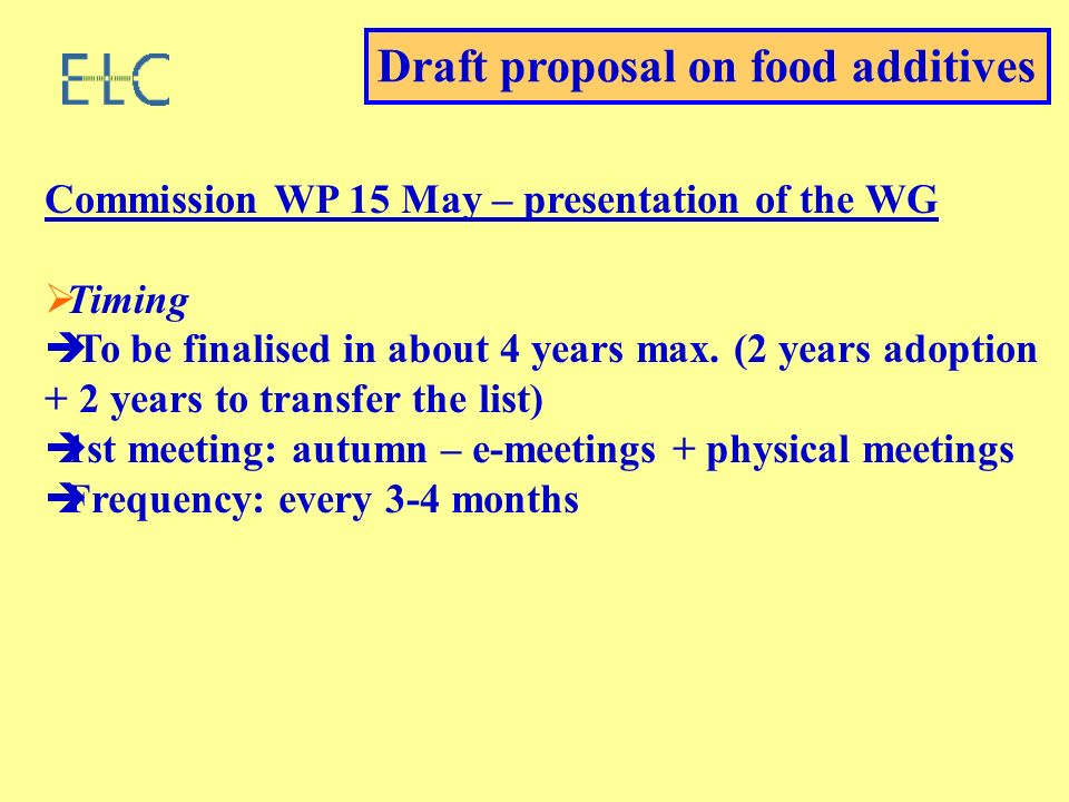 Commission WP 15 May – presentation of the WG Timing To be finalised in about 4 years max. (2 years adoption + 2 years to transfer the list) 1st meeti