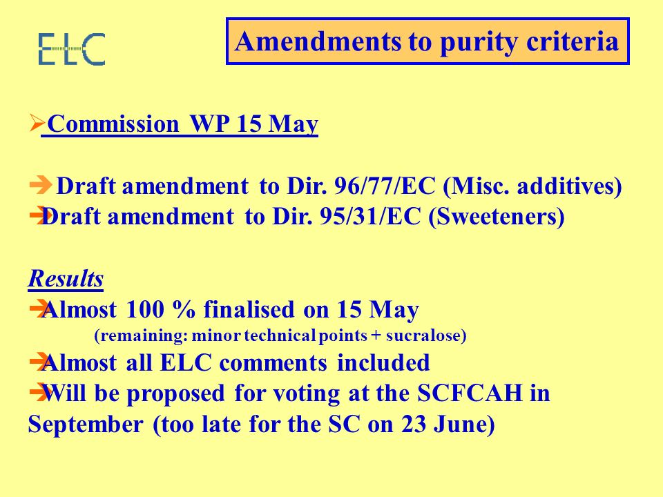 Commission WP 15 May Draft amendment to Dir. 96/77/EC (Misc. additives) Draft amendment to Dir. 95/31/EC (Sweeteners) Results Almost 100 % finalised o