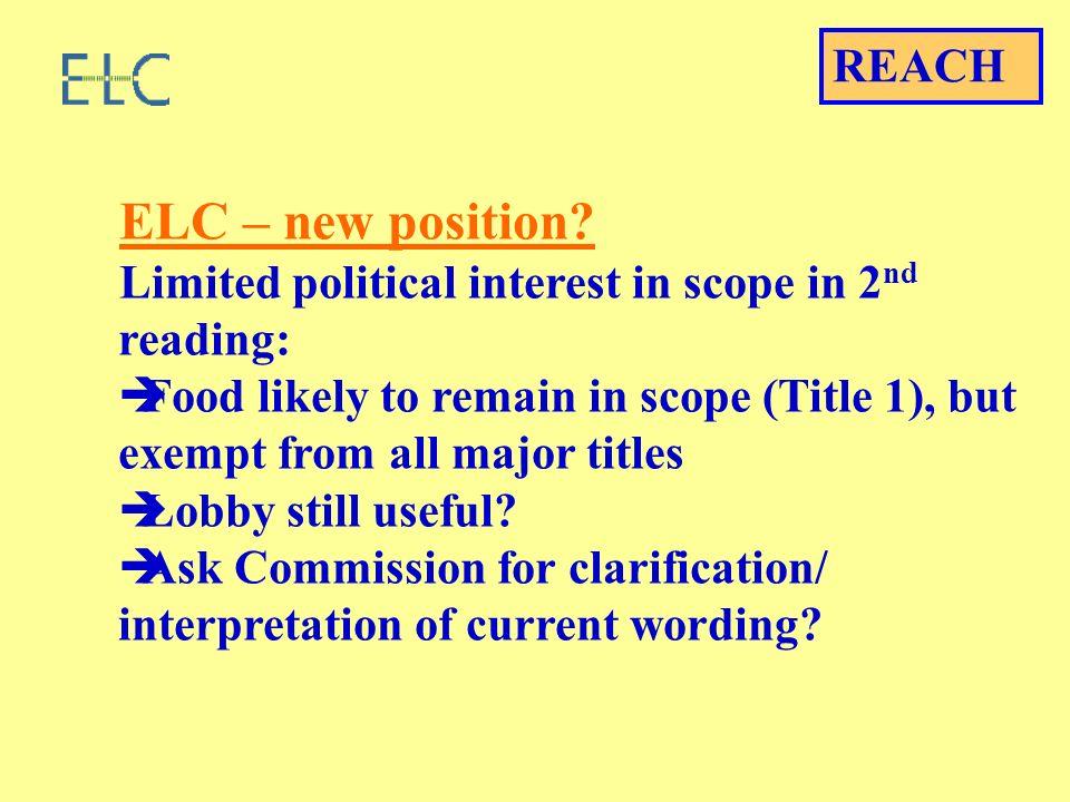 ELC – new position.