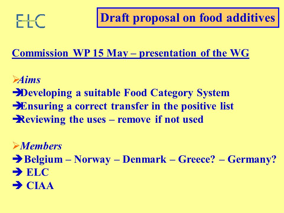 Commission WP 15 May – presentation of the WG Aims Developing a suitable Food Category System Ensuring a correct transfer in the positive list Reviewing the uses – remove if not used Members Belgium – Norway – Denmark – Greece.
