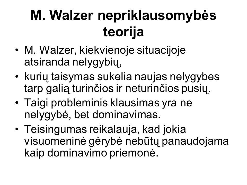 M. Walzer nepriklausomybės teorija M.