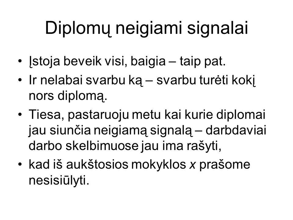 Diplomų neigiami signalai Įstoja beveik visi, baigia – taip pat.