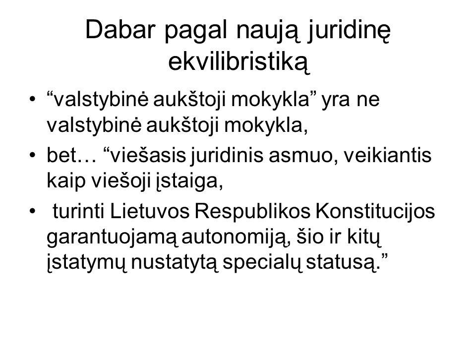 Dabar pagal naują juridinę ekvilibristiką valstybinė aukštoji mokykla yra ne valstybinė aukštoji mokykla, bet… viešasis juridinis asmuo, veikiantis kaip viešoji įstaiga, turinti Lietuvos Respublikos Konstitucijos garantuojamą autonomiją, šio ir kitų įstatymų nustatytą specialų statusą.