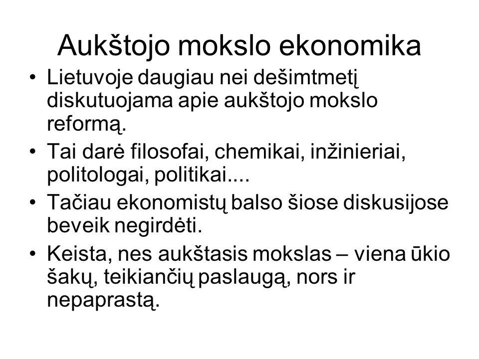 Aukštojo mokslo ekonomika Lietuvoje daugiau nei dešimtmetį diskutuojama apie aukštojo mokslo reformą.