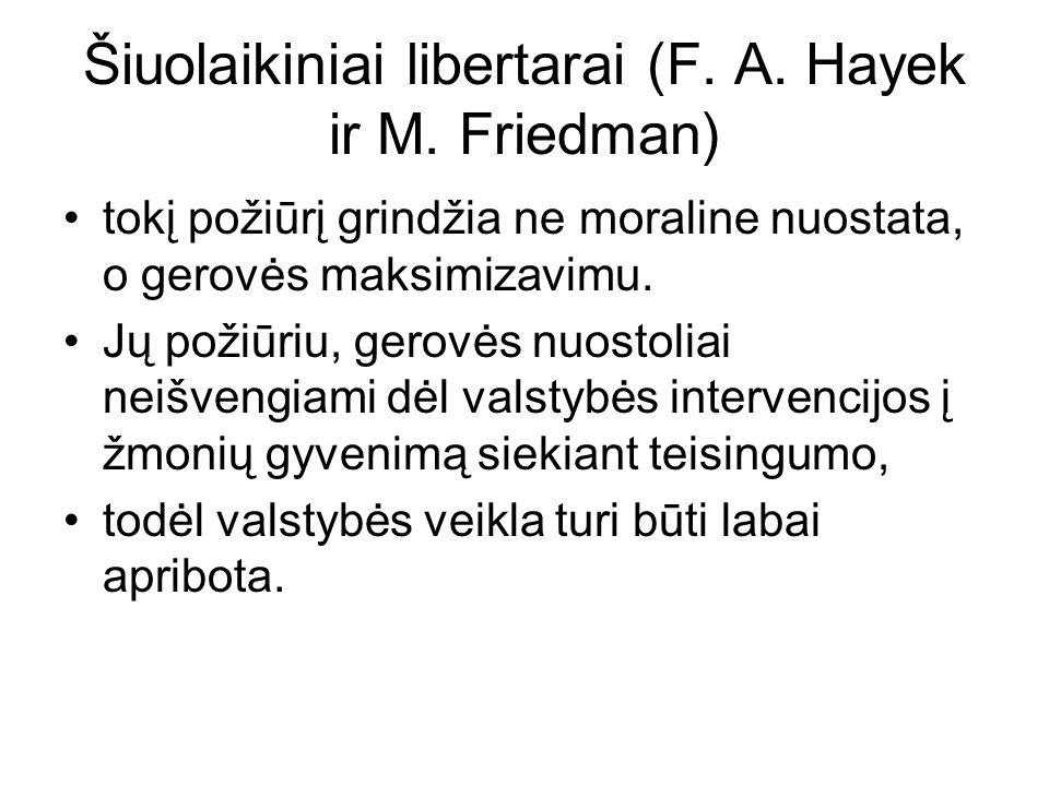 Šiuolaikiniai libertarai (F. A. Hayek ir M.
