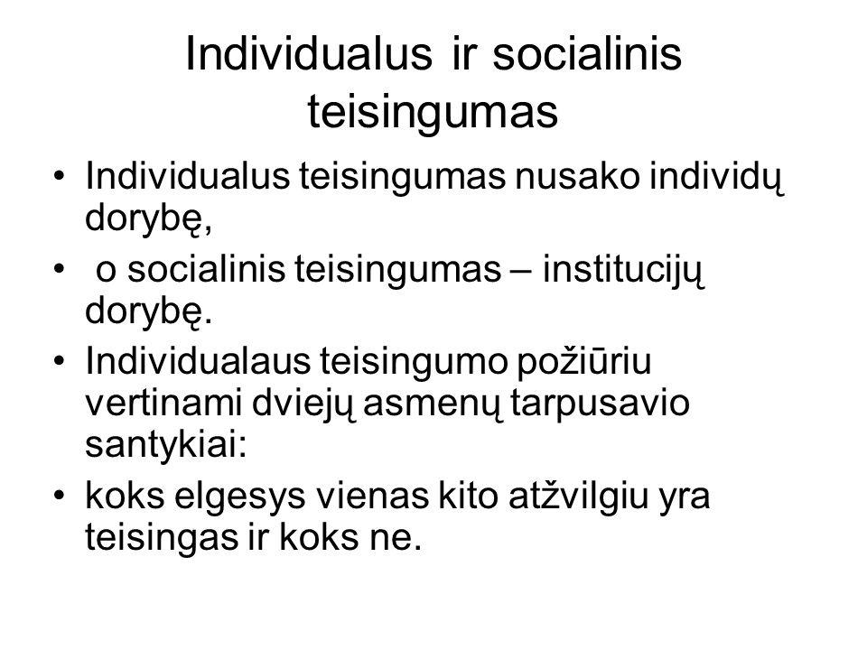 Individualus ir socialinis teisingumas Individualus teisingumas nusako individų dorybę, o socialinis teisingumas – institucijų dorybę.