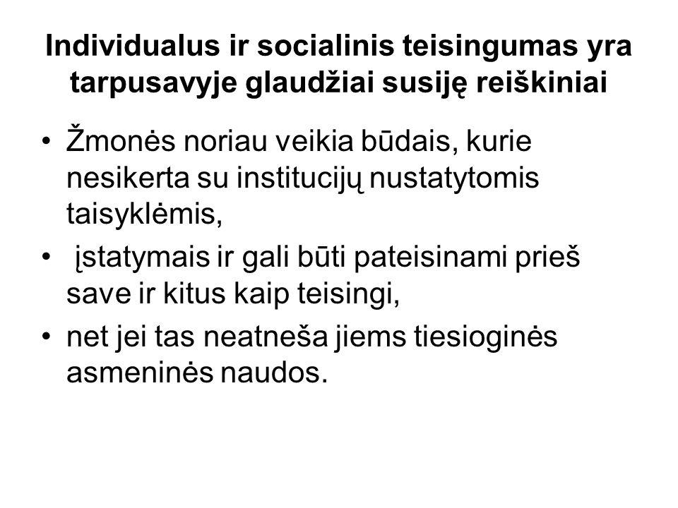 Individualus ir socialinis teisingumas yra tarpusavyje glaudžiai susiję reiškiniai Žmonės noriau veikia būdais, kurie nesikerta su institucijų nustatytomis taisyklėmis, įstatymais ir gali būti pateisinami prieš save ir kitus kaip teisingi, net jei tas neatneša jiems tiesioginės asmeninės naudos.