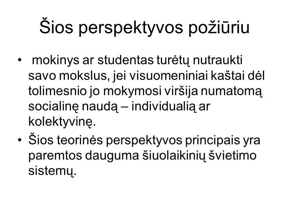 Šios perspektyvos požiūriu mokinys ar studentas turėtų nutraukti savo mokslus, jei visuomeniniai kaštai dėl tolimesnio jo mokymosi viršija numatomą socialinę naudą – individualią ar kolektyvinę.