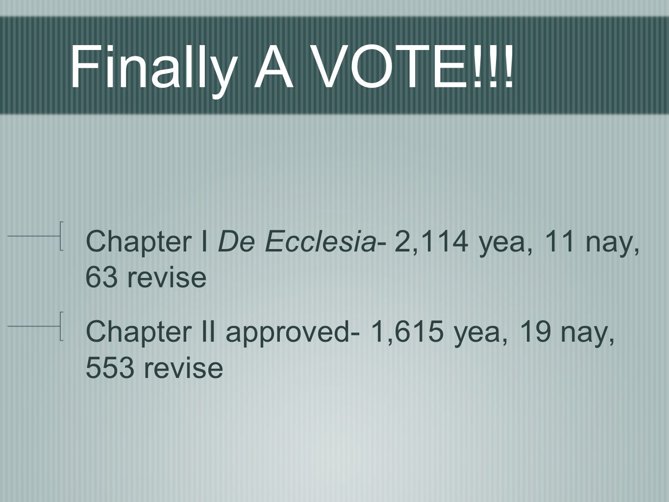 Finally A VOTE!!! Chapter I De Ecclesia- 2,114 yea, 11 nay, 63 revise Chapter II approved- 1,615 yea, 19 nay, 553 revise