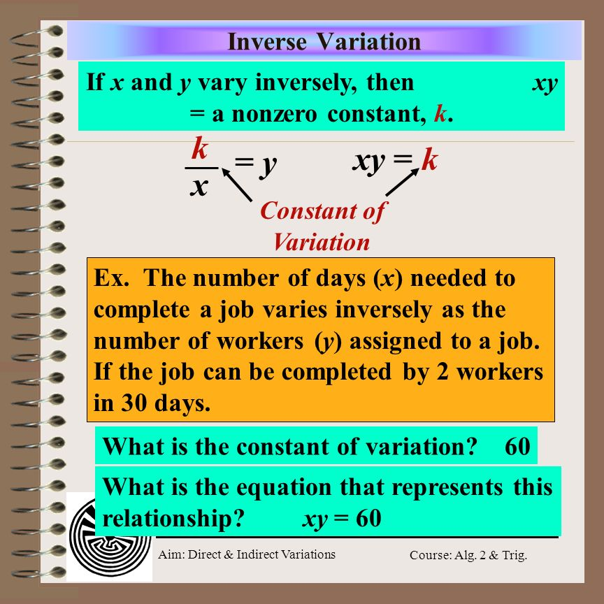 Aim: Direct & Indirect Variations Course: Alg. 2 & Trig. Direct Variation p varies directly as t. If p = 42 when t = 7, find p when t = 4 Use a propor