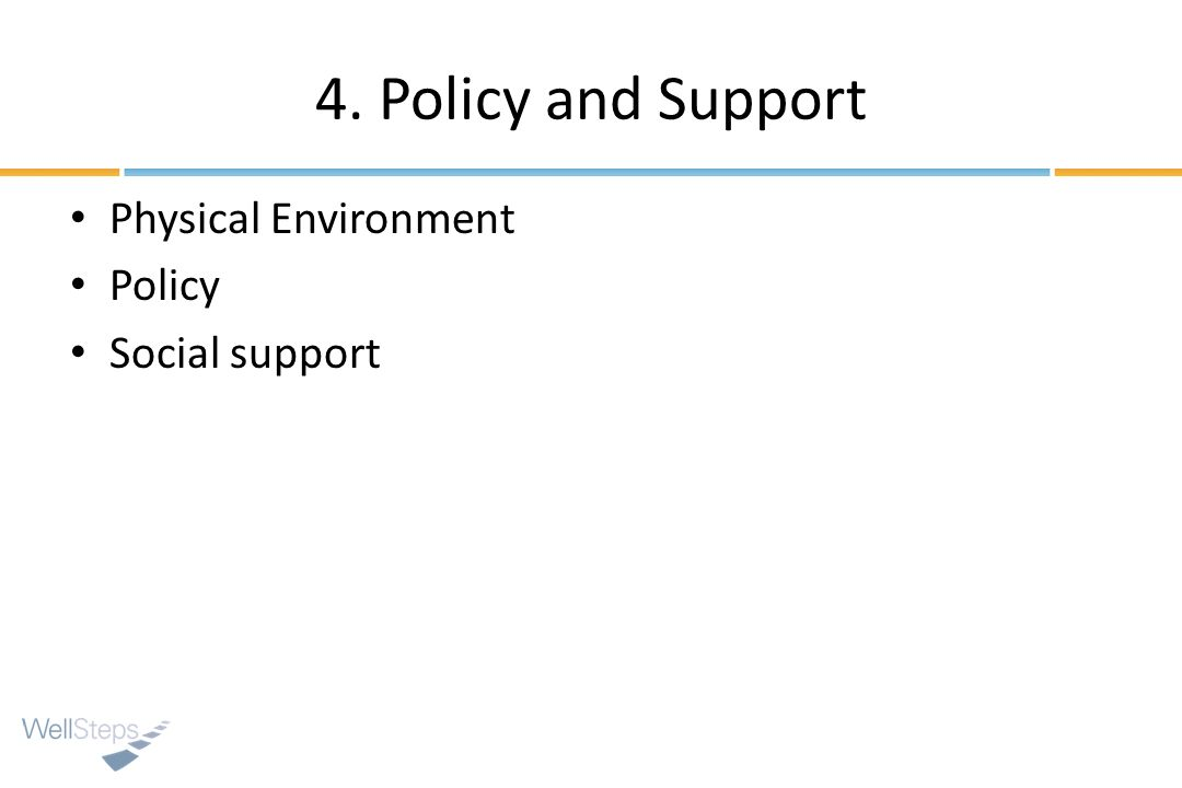 4. Policy and Support Physical Environment Policy Social support