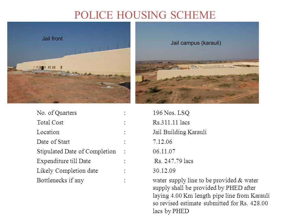 POLICE HOUSING SCHEME No. of Quarters:196 Nos. LSQ Total Cost:Rs.311.11 lacs Location:Jail Building Karauli Date of Start:7.12.06 Stipulated Date of C