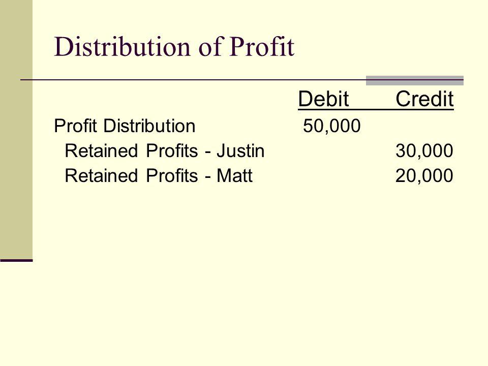 Distribution of Profit DebitCredit Profit Distribution 50,000 Retained Profits - Justin30,000 Retained Profits - Matt20,000