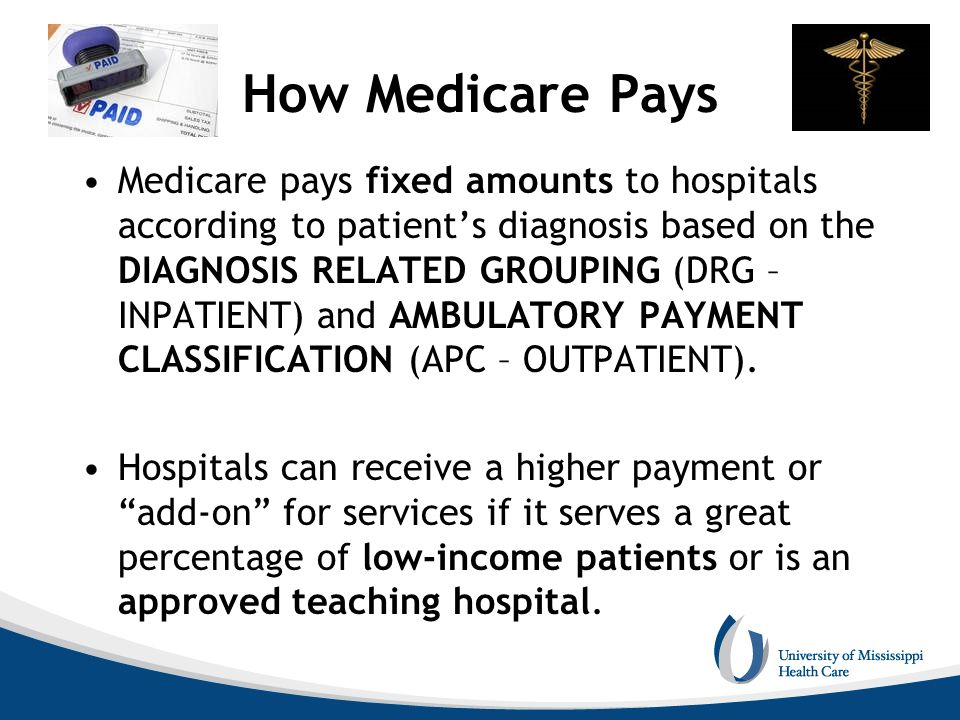 How Medicare Pays Medicare pays fixed amounts to hospitals according to patients diagnosis based on the DIAGNOSIS RELATED GROUPING (DRG – INPATIENT) a