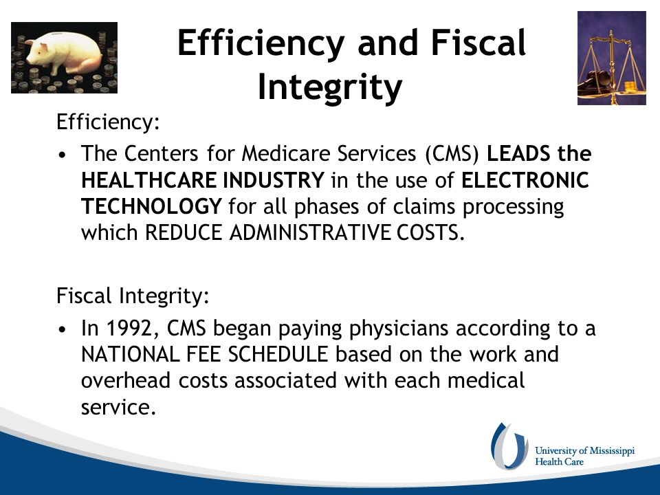 Efficiency and Fiscal Integrity Efficiency: The Centers for Medicare Services (CMS) LEADS the HEALTHCARE INDUSTRY in the use of ELECTRONIC TECHNOLOGY