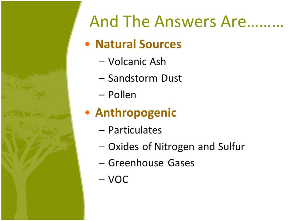 And The Answers Are……… Natural Sources –Volcanic Ash –Sandstorm Dust –Pollen Anthropogenic –Particulates –Oxides of Nitrogen and Sulfur –Greenhouse Ga