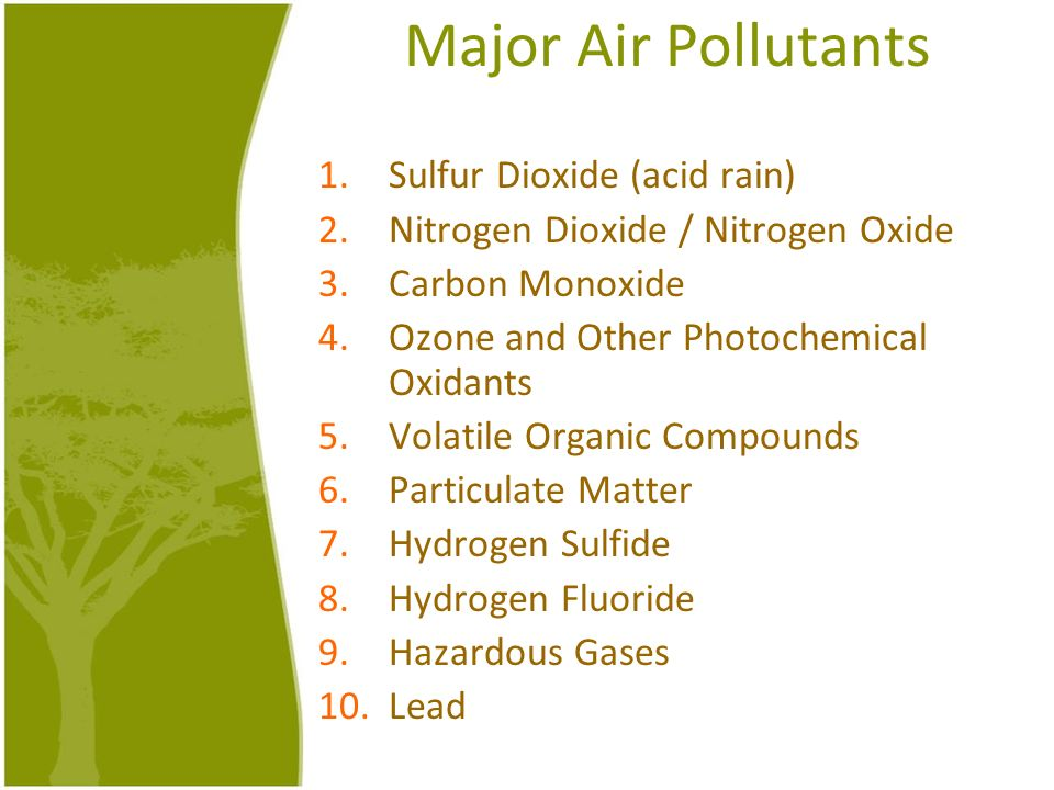 Major Air Pollutants 1.Sulfur Dioxide (acid rain) 2.Nitrogen Dioxide / Nitrogen Oxide 3.Carbon Monoxide 4.Ozone and Other Photochemical Oxidants 5.Vol