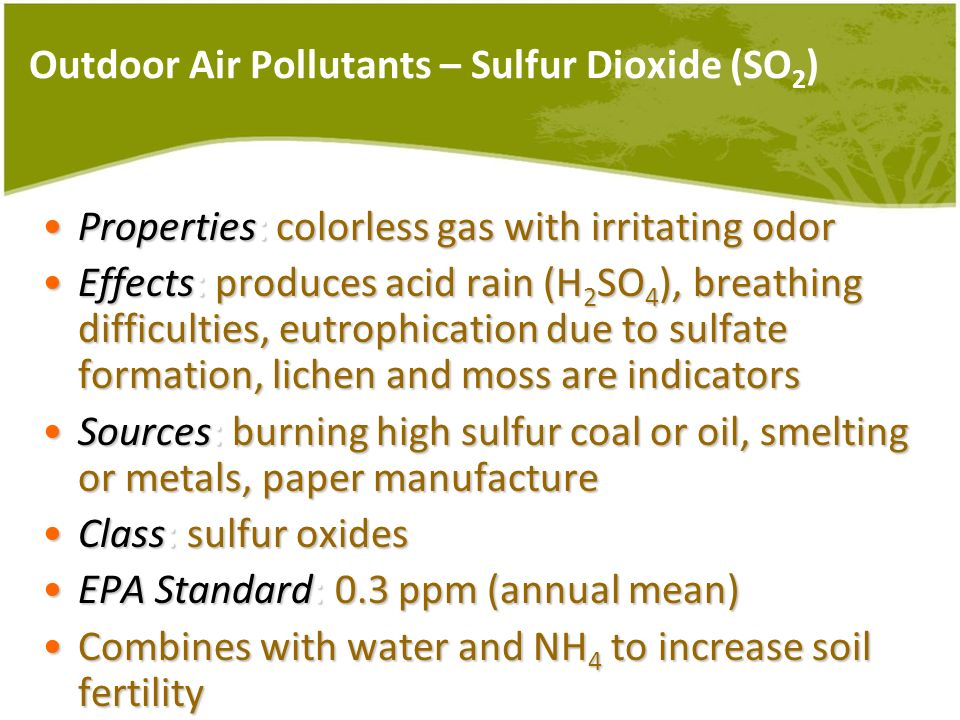 Outdoor Air Pollutants – Sulfur Dioxide (SO 2 ) Properties: colorless gas with irritating odorProperties: colorless gas with irritating odor Effects: