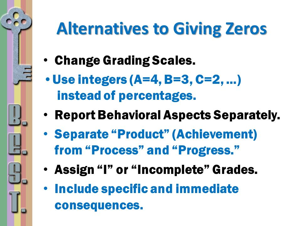 Alternatives to Giving Zeros Change Grading Scales. Use integers (A=4, B=3, C=2, …) instead of percentages. Report Behavioral Aspects Separately. Sepa