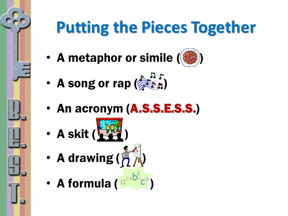 Putting the Pieces Together A metaphor or simile ( ) A song or rap ( ) A.S.S.E.S.S. An acronym (A.S.S.E.S.S.) A skit ( ) A drawing ( ) A formula ( )