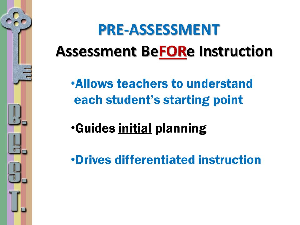 Assessment BeFORe Instruction Allows teachers to understand each students starting point Guides initial planning Drives differentiated instruction PRE