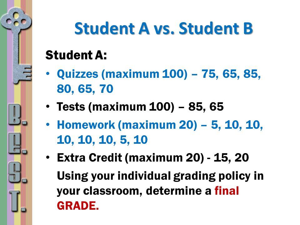 Student A vs. Student B Student A: Quizzes (maximum 100) – 75, 65, 85, 80, 65, 70 Tests (maximum 100) – 85, 65 Homework (maximum 20) – 5, 10, 10, 10,