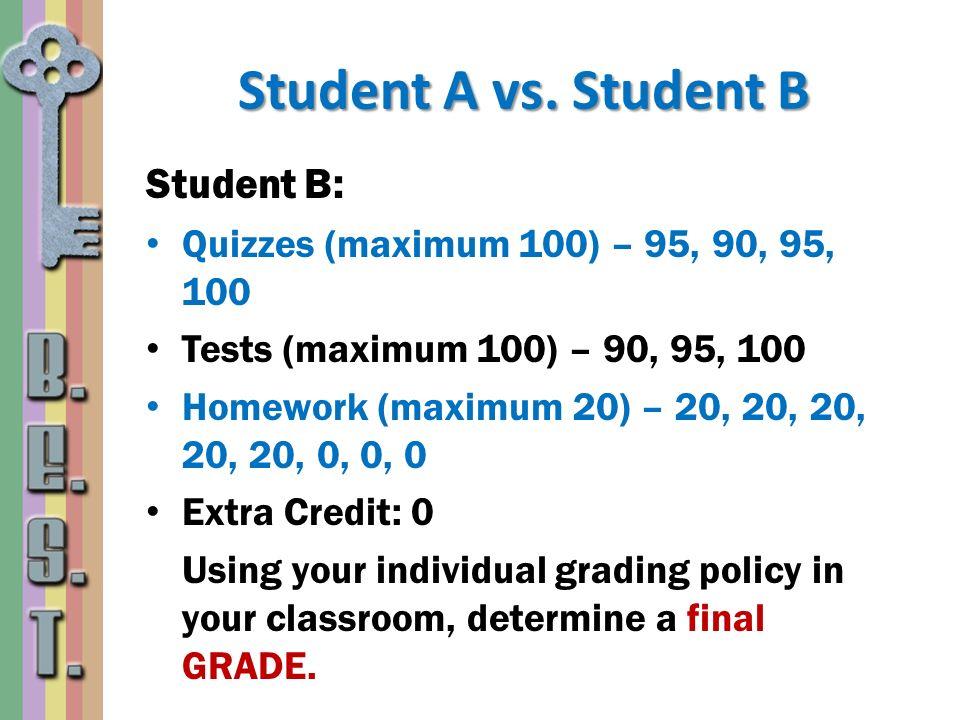 Student A vs. Student B Student B: Quizzes (maximum 100) – 95, 90, 95, 100 Tests (maximum 100) – 90, 95, 100 Homework (maximum 20) – 20, 20, 20, 20, 2