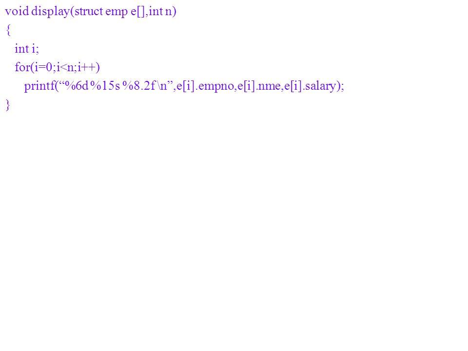 void display(struct emp e[],int n) { int i; for(i=0;i<n;i++) printf(%6d %15s %8.2f \n,e[i].empno,e[i].nme,e[i].salary); }