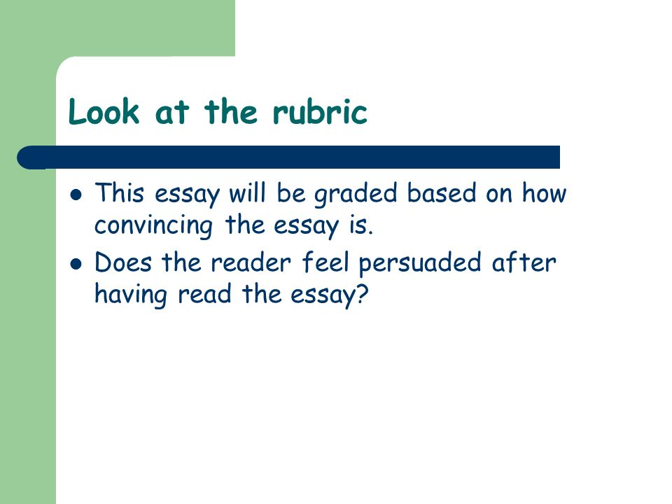 Look at the rubric This essay will be graded based on how convincing the essay is. Does the reader feel persuaded after having read the essay?