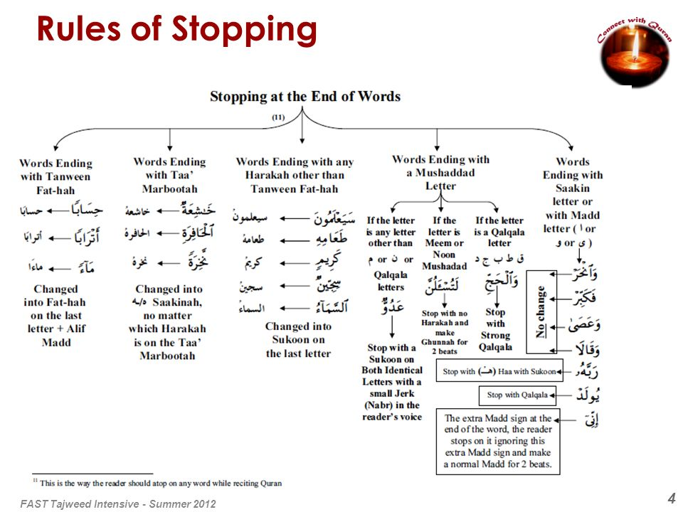4 Rules of Stopping FAST Tajweed Intensive - Summer 2012