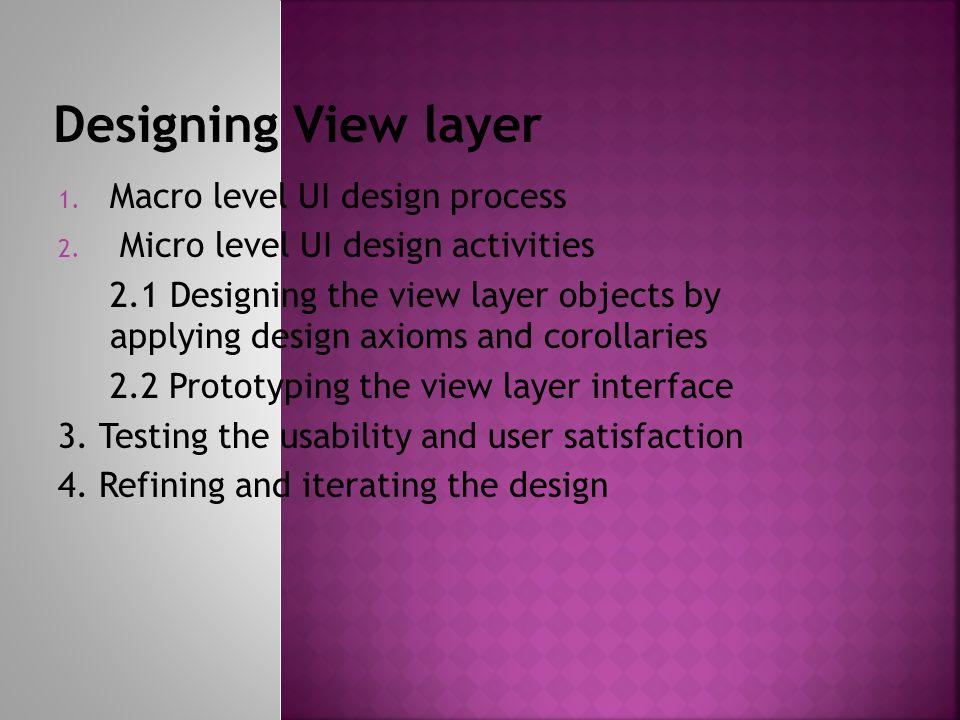 1. Macro level UI design process 2.