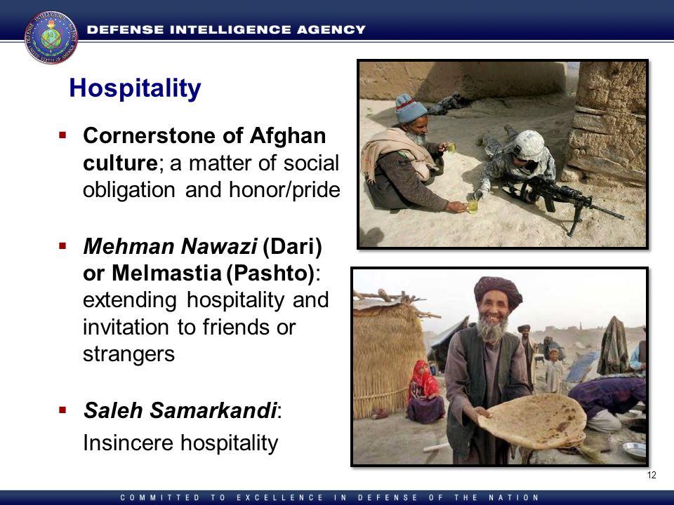 Directorate for Human Capital Hospitality Cornerstone of Afghan culture; a matter of social obligation and honor/pride Mehman Nawazi (Dari) or Melmast