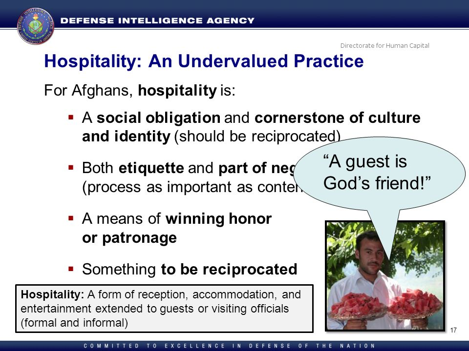 Directorate for Human Capital Hospitality: An Undervalued Practice For Afghans, hospitality is: A social obligation and cornerstone of culture and ide