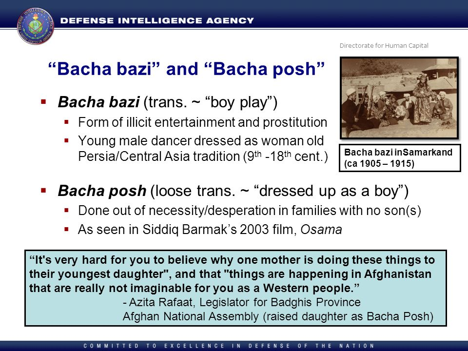 Directorate for Human Capital Bacha bazi and Bacha posh Bacha bazi (trans. ~ boy play) Form of illicit entertainment and prostitution Young male dance