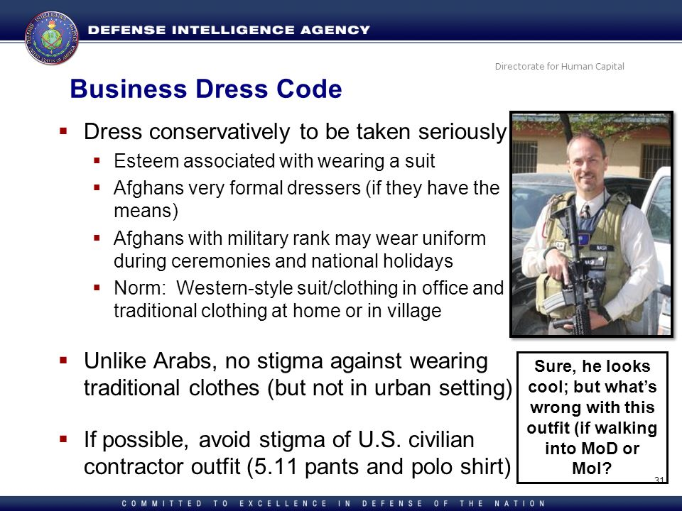 Directorate for Human Capital Business Dress Code Dress conservatively to be taken seriously Esteem associated with wearing a suit Afghans very formal