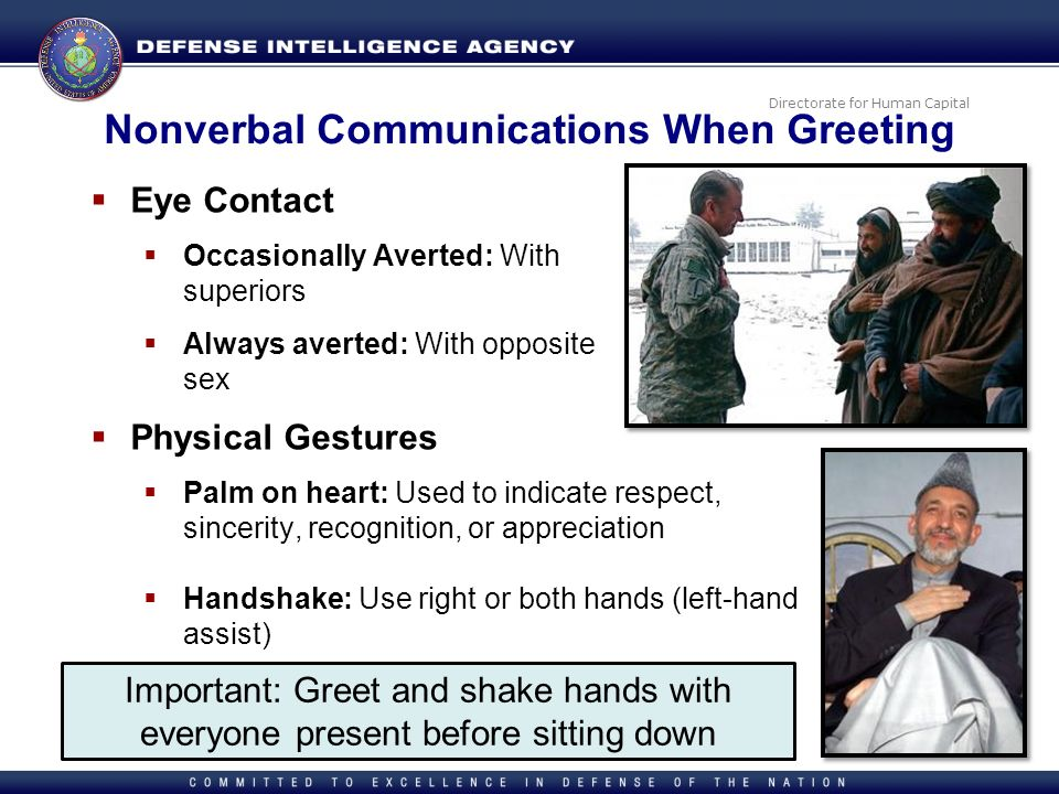 Directorate for Human Capital Nonverbal Communications When Greeting Eye Contact Occasionally Averted: With superiors Always averted: With opposite se