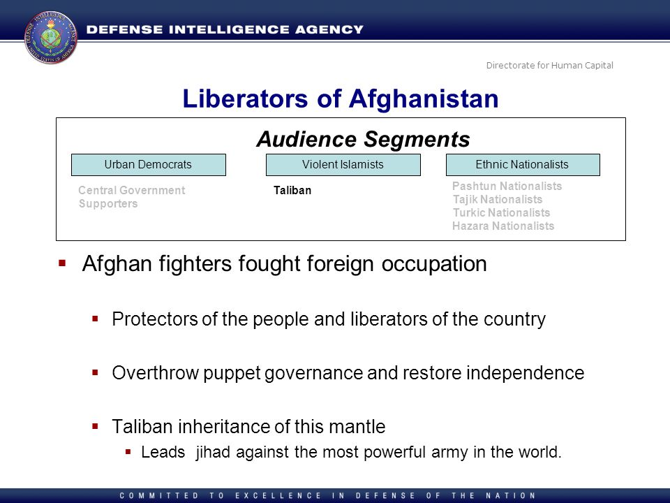 Directorate for Human Capital Liberators of Afghanistan Afghan fighters fought foreign occupation Protectors of the people and liberators of the count