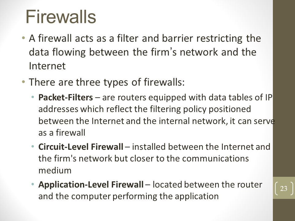 Firewalls A firewall acts as a filter and barrier restricting the data flowing between the firm s network and the Internet There are three types of fi