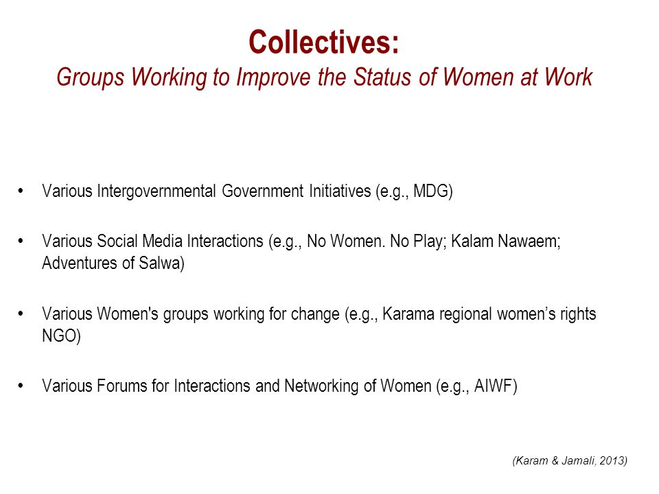 Collectives: Groups Working to Improve the Status of Women at Work Various Intergovernmental Government Initiatives (e.g., MDG) Various Social Media Interactions (e.g., No Women.