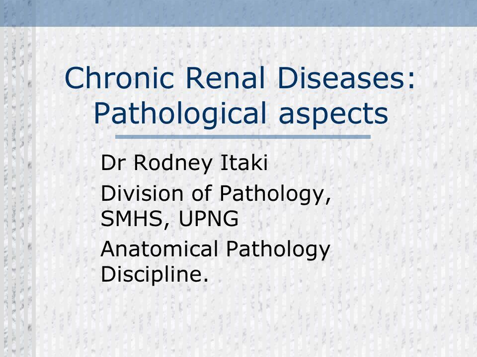 Chronic Renal Diseases: Pathological aspects Dr Rodney Itaki Division of Pathology, SMHS, UPNG Anatomical Pathology Discipline.