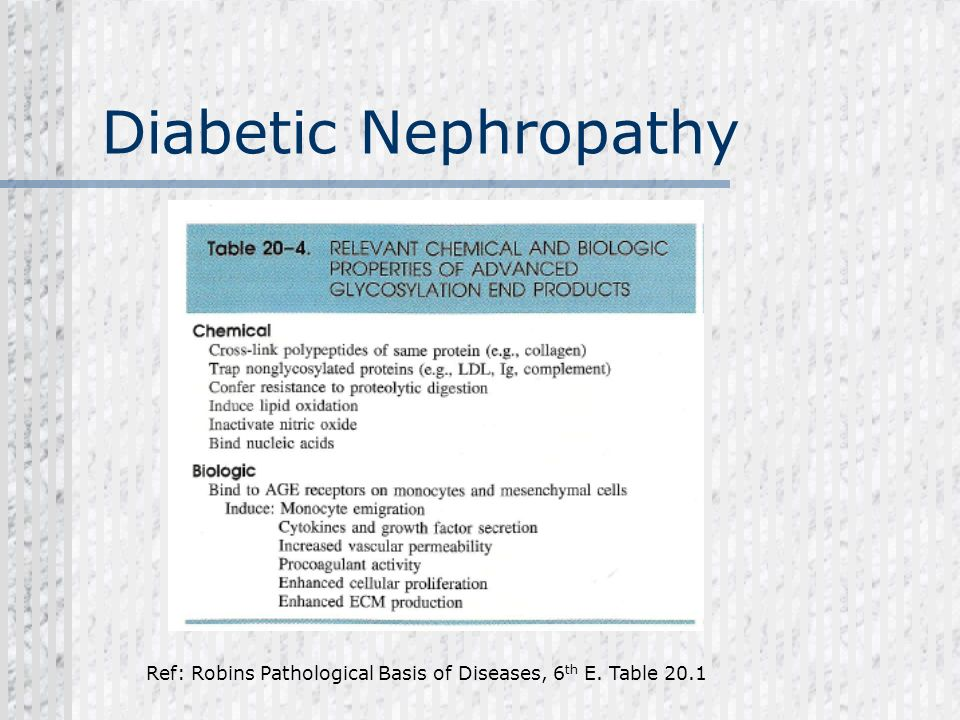 Diabetic Nephropathy Ref: Robins Pathological Basis of Diseases, 6 th E. Table 20.1