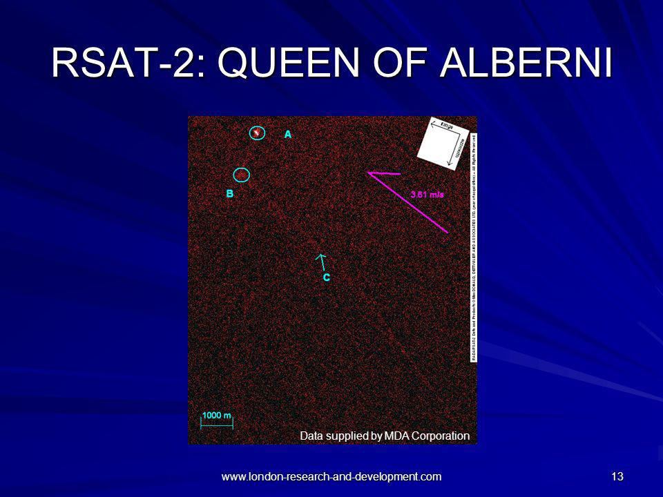 www.london-research-and-development.com 13 RSAT-2: QUEEN OF ALBERNI Data supplied by MDA Corporation