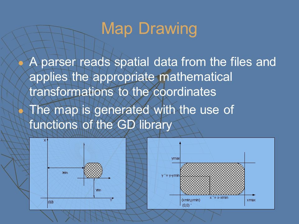 Map Drawing A parser reads spatial data from the files and applies the appropriate mathematical transformations to the coordinates The map is generate