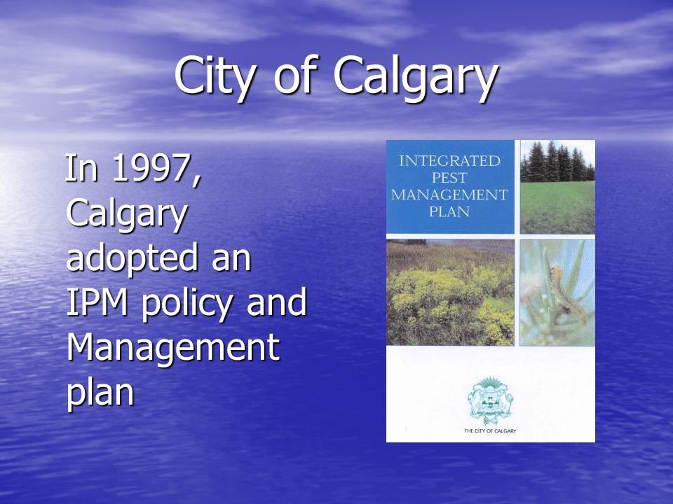 City of Calgary In 1997, Calgary adopted an IPM policy and Management plan In 1997, Calgary adopted an IPM policy and Management plan