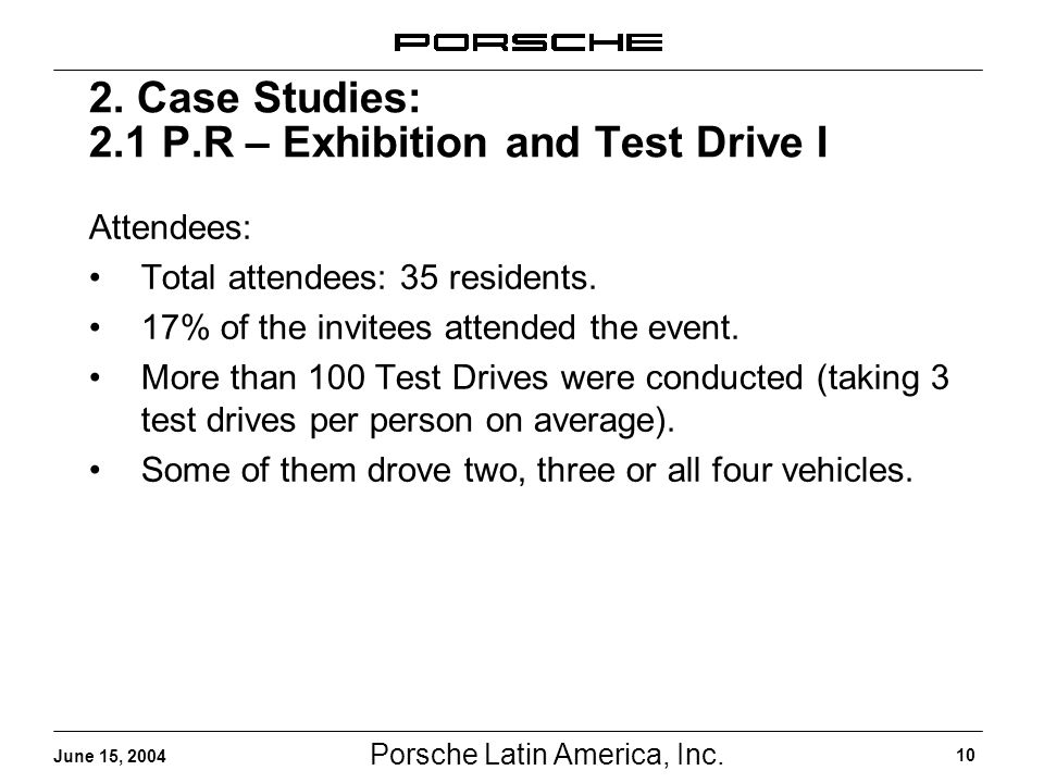 Porsche Latin America, Inc. 10 June 15, 2004 2. Case Studies: 2.1 P.R – Exhibition and Test Drive I Attendees: Total attendees: 35 residents. 17% of t
