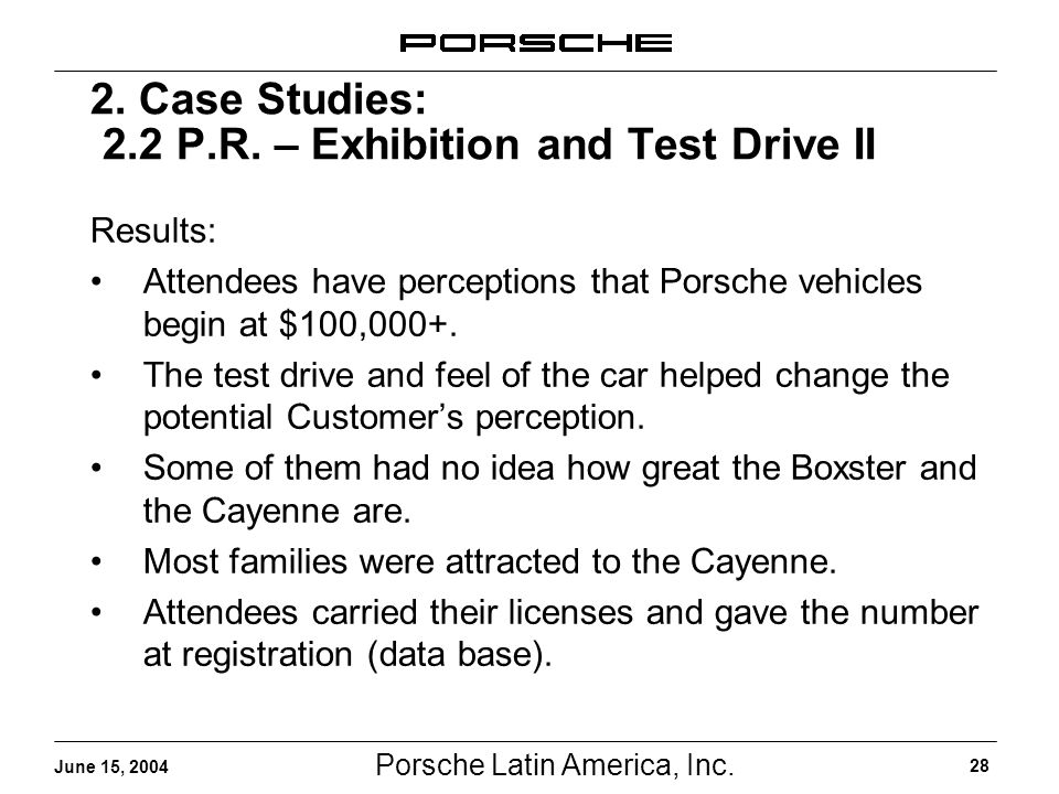 Porsche Latin America, Inc. 28 June 15, 2004 2. Case Studies: 2.2 P.R. – Exhibition and Test Drive II Results: Attendees have perceptions that Porsche
