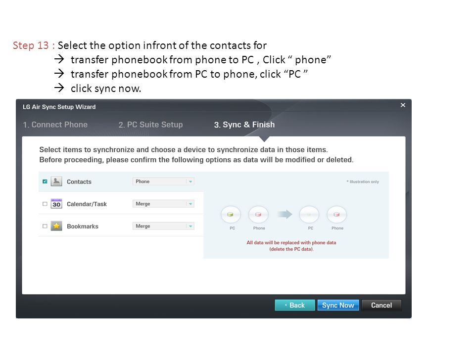 Step 13 : Select the option infront of the contacts for transfer phonebook from phone to PC, Click phone transfer phonebook from PC to phone, click PC click sync now.