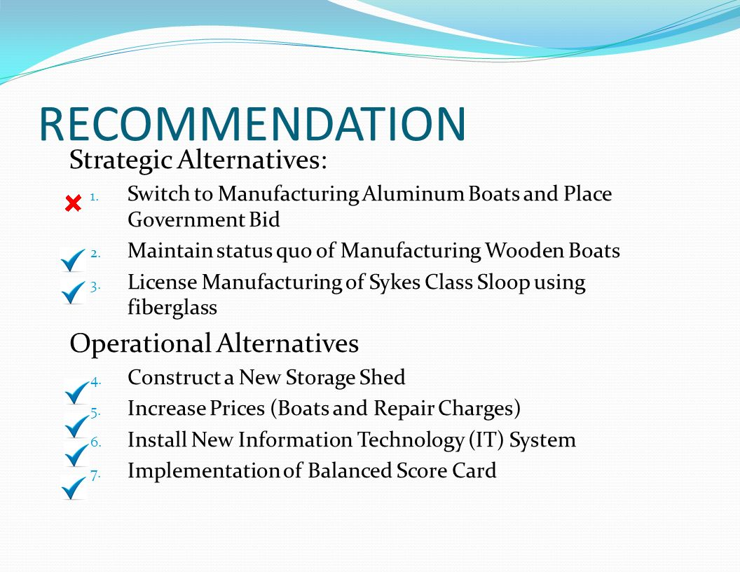 RECOMMENDATION Strategic Alternatives: 1. Switch to Manufacturing Aluminum Boats and Place Government Bid 2. Maintain status quo of Manufacturing Wood