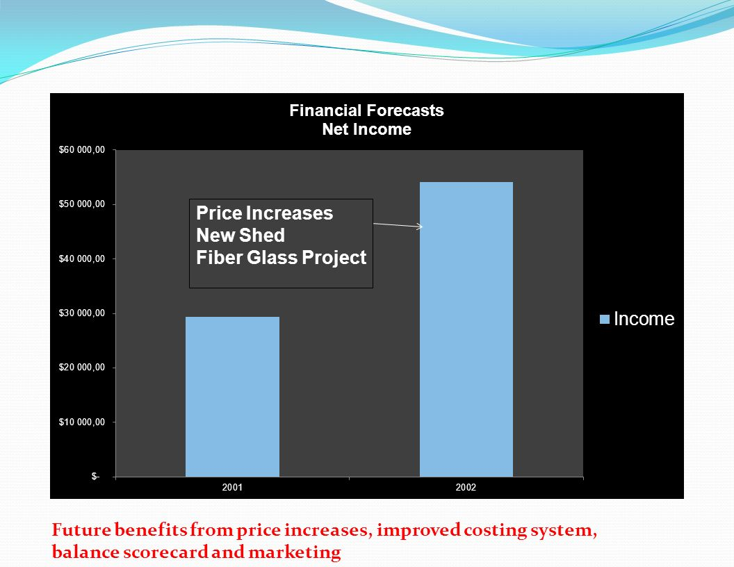 Future benefits from price increases, improved costing system, balance scorecard and marketing