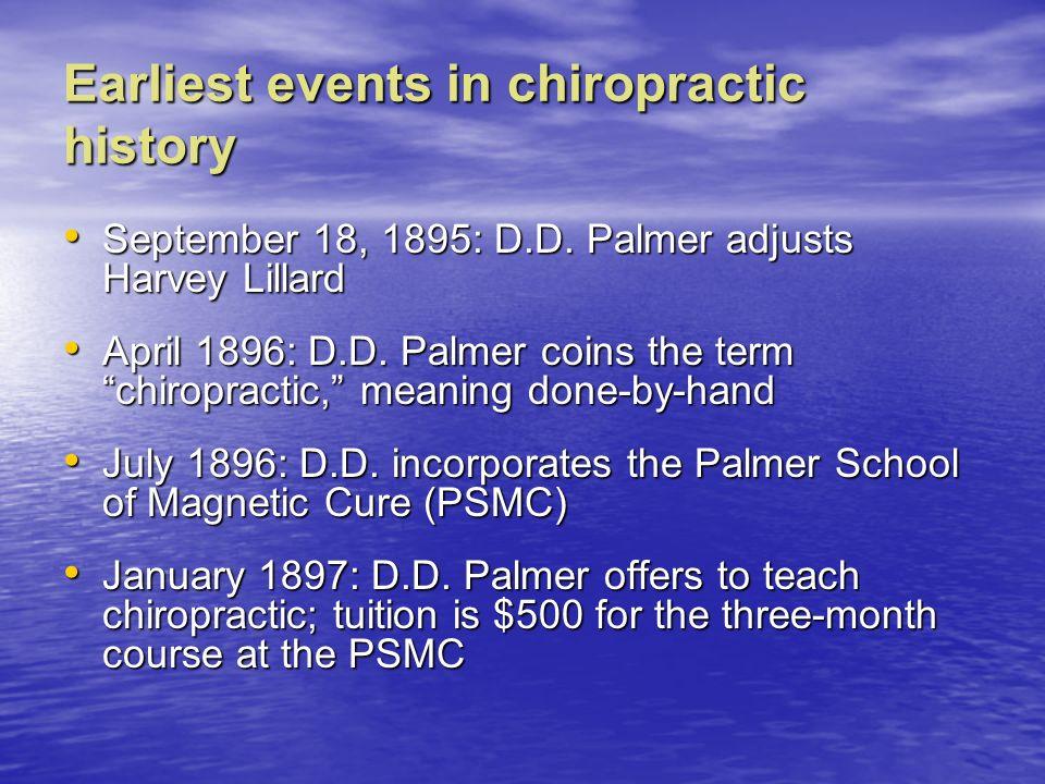 Earliest events in chiropractic history September 18, 1895: D.D. Palmer adjusts Harvey Lillard September 18, 1895: D.D. Palmer adjusts Harvey Lillard